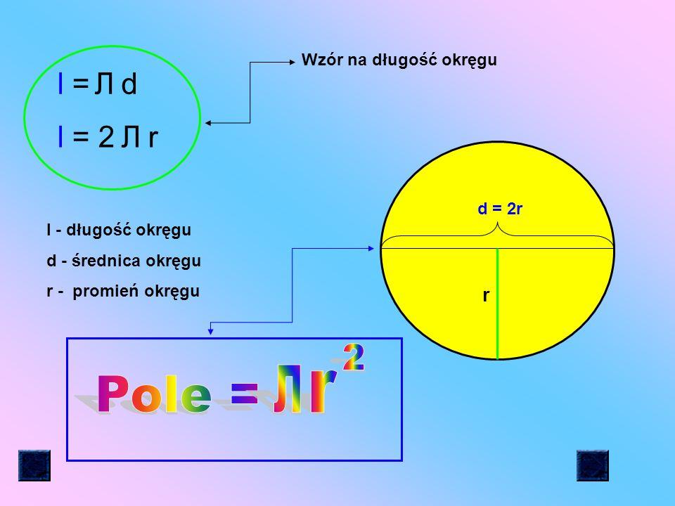 2 Л r Pole = l = Л d l = 2 r Л r Wzór na długość okręgu d = 2r