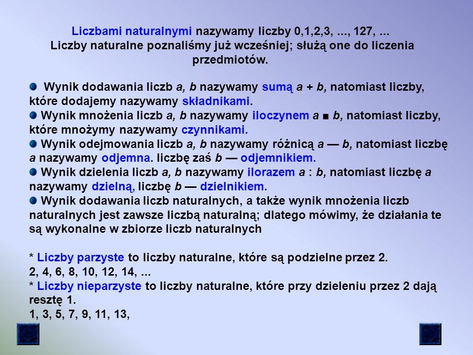 Liczbami naturalnymi nazywamy liczby 0,1,2,3, ..., 127, ...