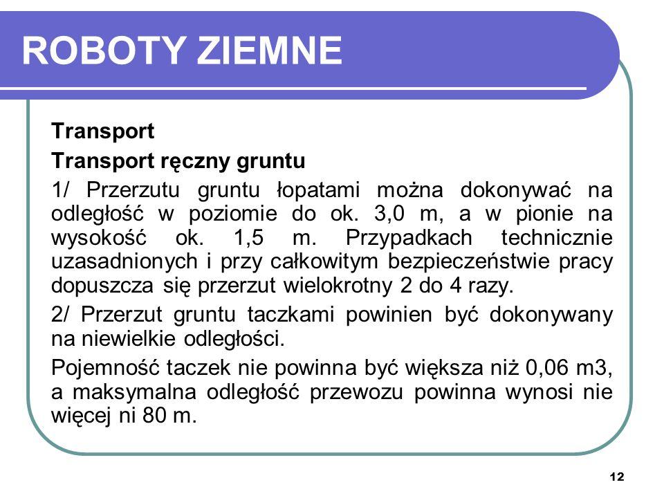 ROBOTY ZIEMNE Transport Transport ręczny gruntu