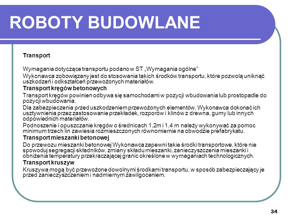 ROBOTY BUDOWLANE Transport