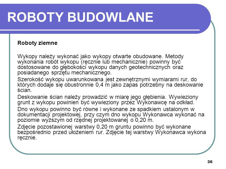 ROBOTY BUDOWLANE Roboty ziemne