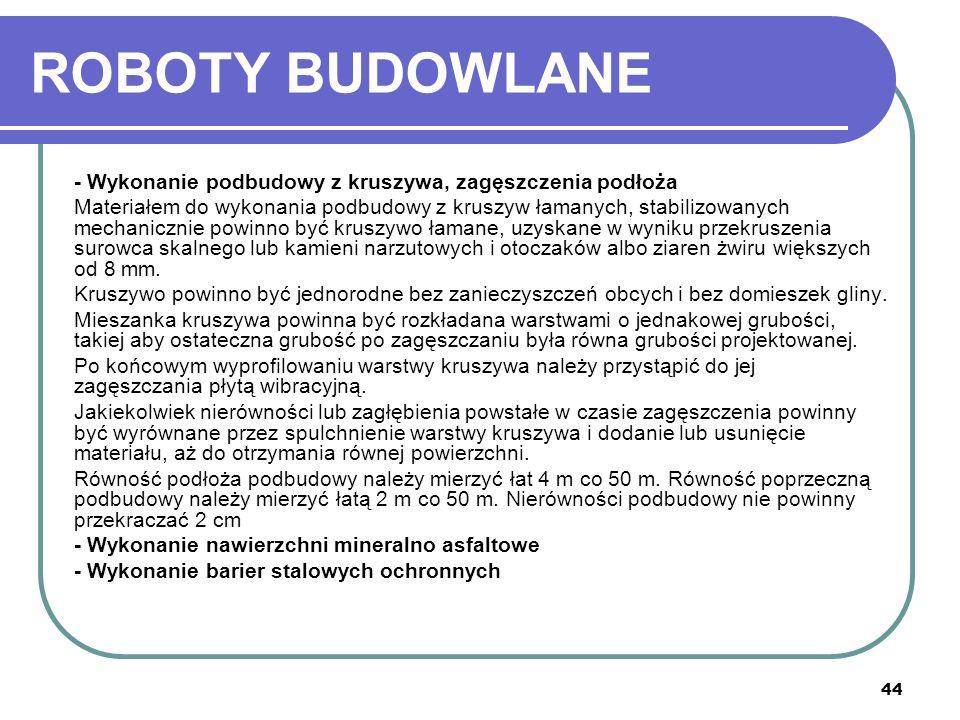ROBOTY BUDOWLANE - Wykonanie podbudowy z kruszywa, zagęszczenia podłoża.