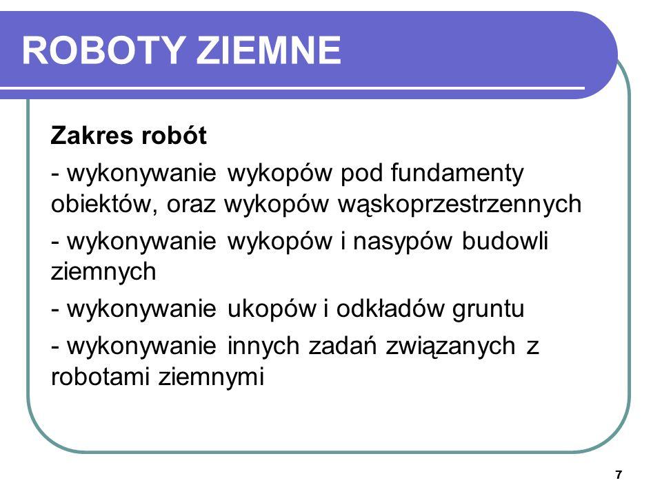 ROBOTY ZIEMNE Zakres robót