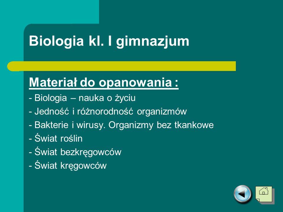 Biologia kl. I gimnazjum