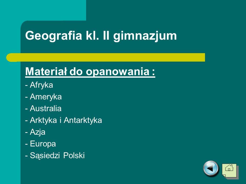 Geografia kl. II gimnazjum