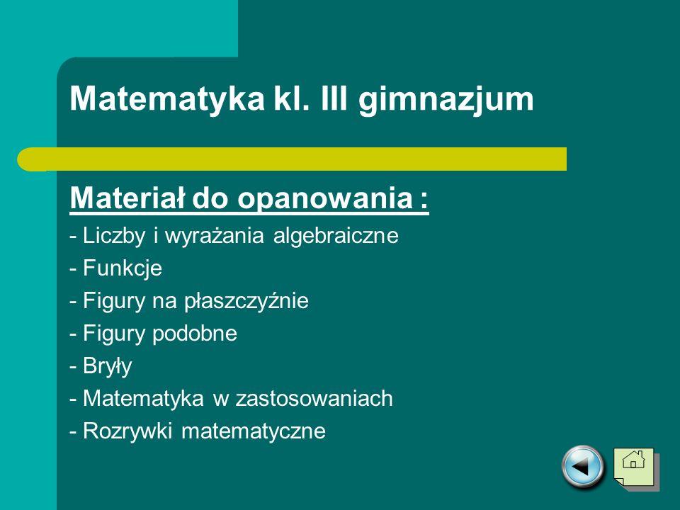 Matematyka kl. III gimnazjum