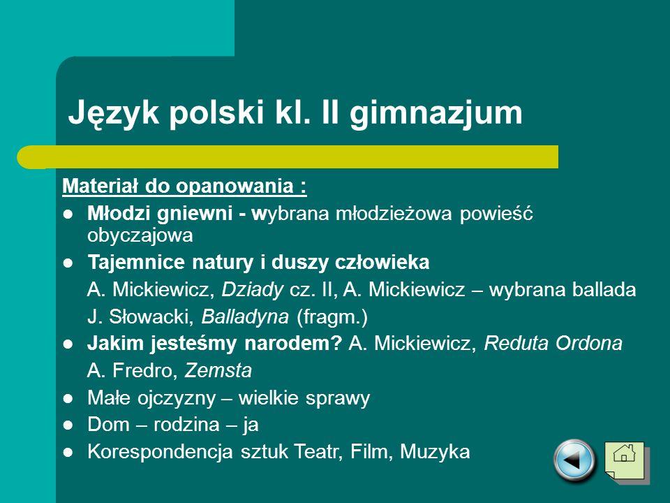 Język polski kl. II gimnazjum