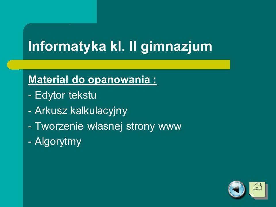Informatyka kl. II gimnazjum