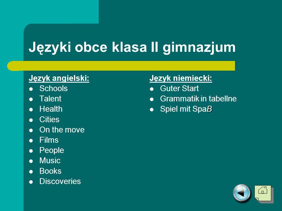 Języki obce klasa II gimnazjum