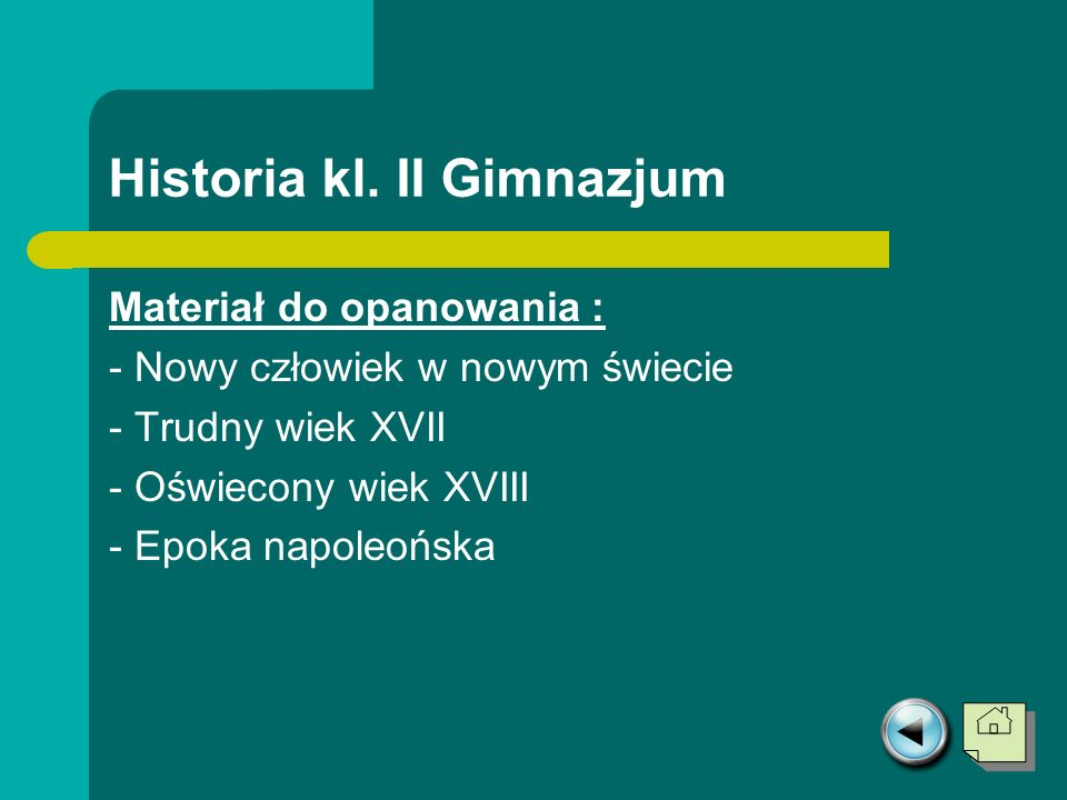 Historia kl. II Gimnazjum