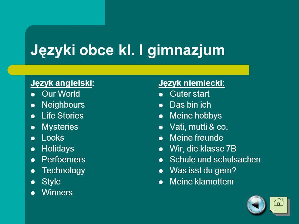Języki obce kl. I gimnazjum