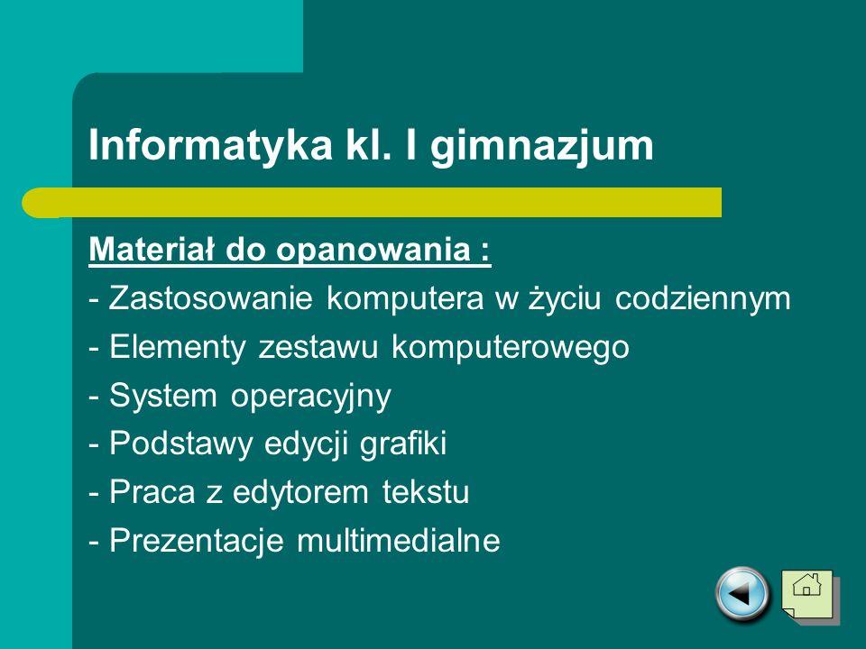 Informatyka kl. I gimnazjum