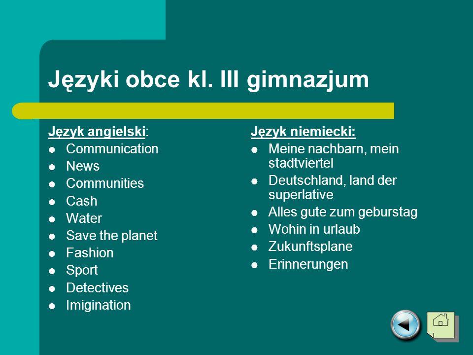 Języki obce kl. III gimnazjum