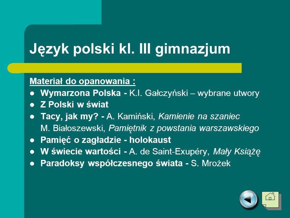 Język polski kl. III gimnazjum