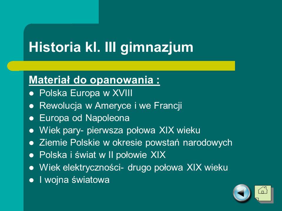 Historia kl. III gimnazjum