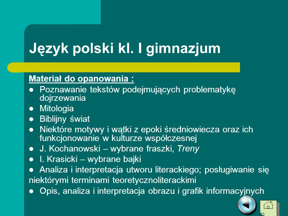 Język polski kl. I gimnazjum