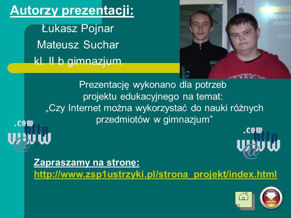 Autorzy prezentacji: Łukasz Pojnar Mateusz Suchar kl. II b gimnazjum