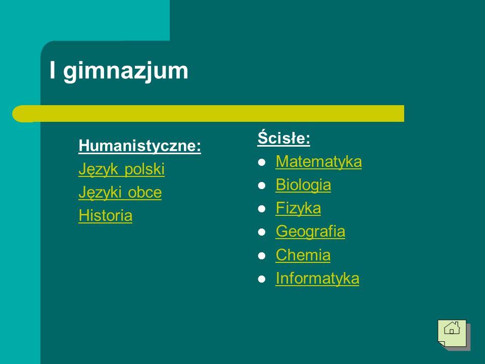 I gimnazjum Ścisłe: Humanistyczne: Matematyka Język polski Biologia