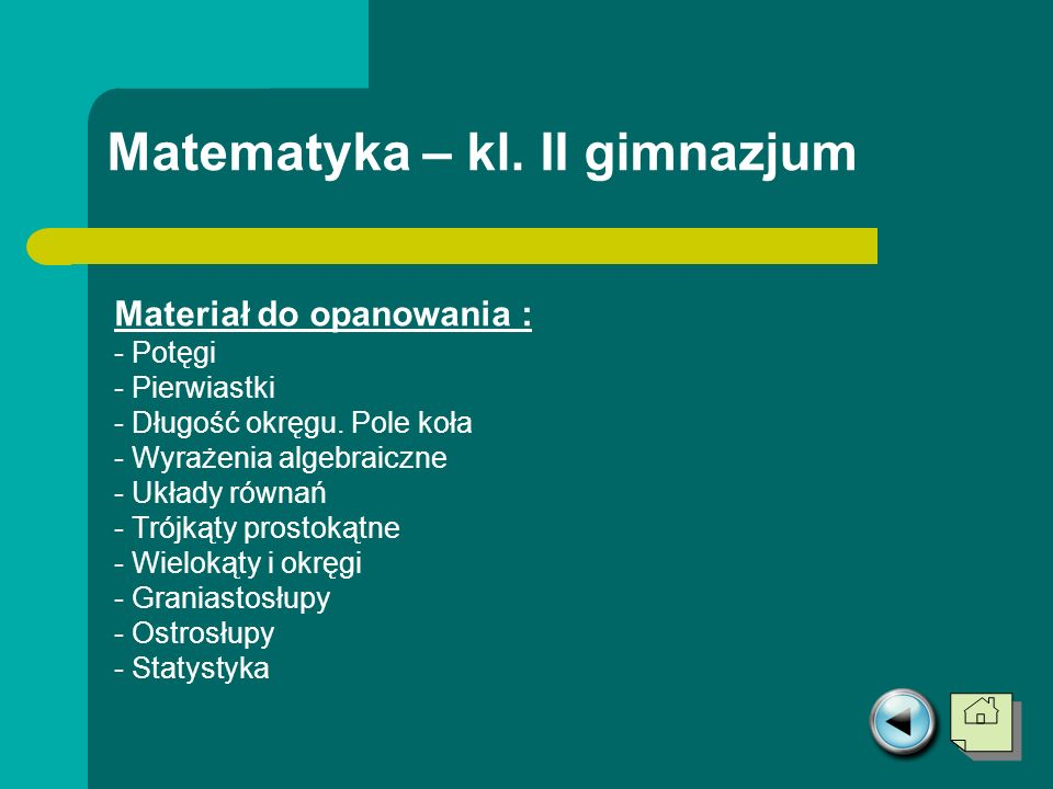 Matematyka – kl. II gimnazjum