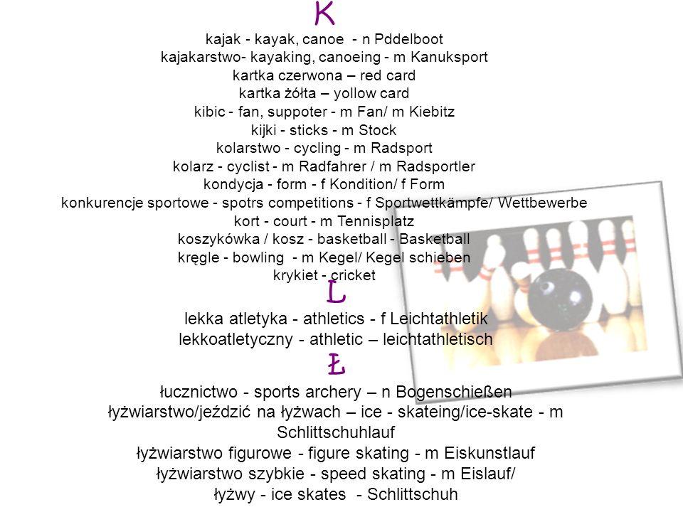 K L Ł lekka atletyka - athletics - f Leichtathletik
