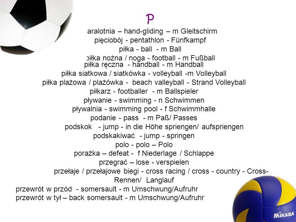 P paralotnia – hand-gliding – m Gleitschirm
