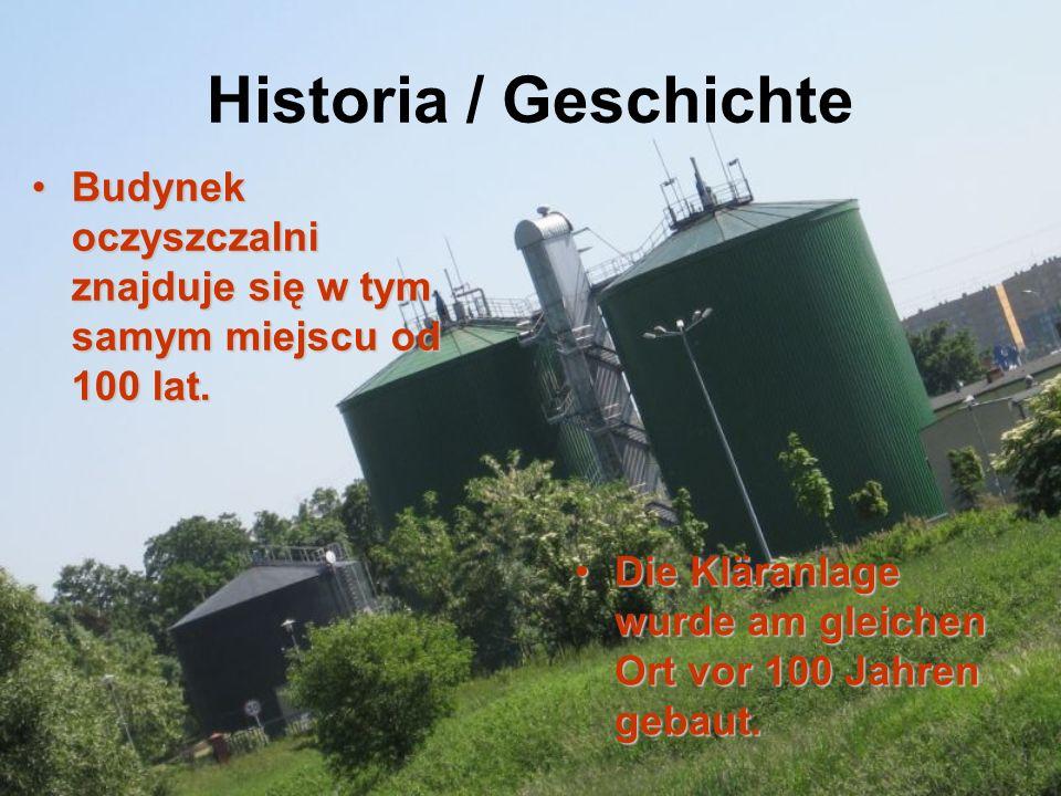 Historia / Geschichte Budynek oczyszczalni znajduje się w tym samym miejscu od 100 lat.