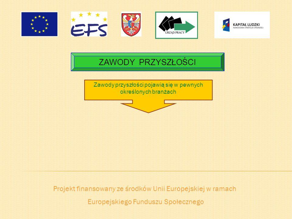 ZAWODY PRZYSZŁOŚCI Zawody przyszłości pojawią się w pewnych określonych branżach. Projekt finansowany ze środków Unii Europejskiej w ramach.