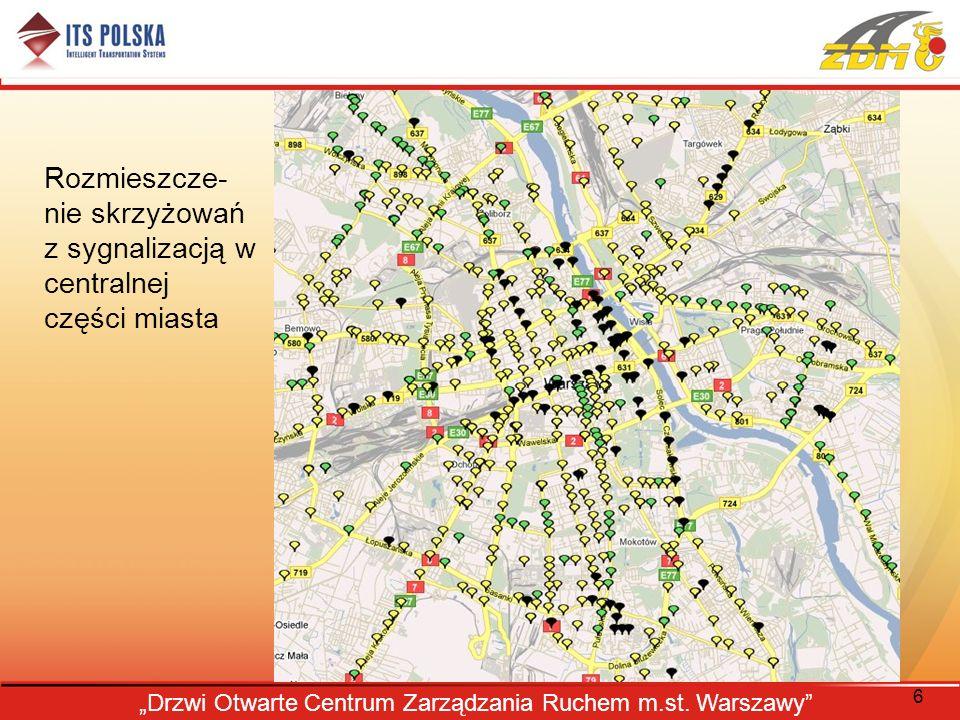 Rozmieszcze-nie skrzyżowań z sygnalizacją w centralnej części miasta