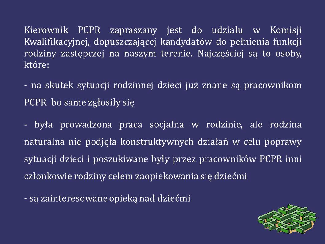 Kierownik PCPR zapraszany jest do udziału w Komisji Kwalifikacyjnej, dopuszczającej kandydatów do pełnienia funkcji rodziny zastępczej na naszym terenie. Najczęściej są to osoby, które: