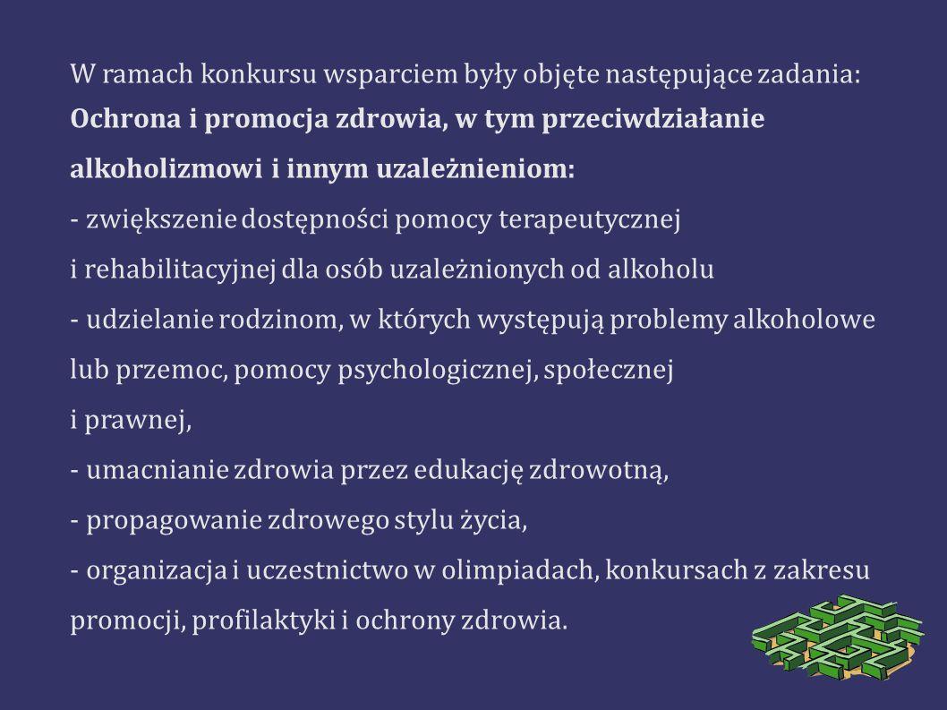 W ramach konkursu wsparciem były objęte następujące zadania: