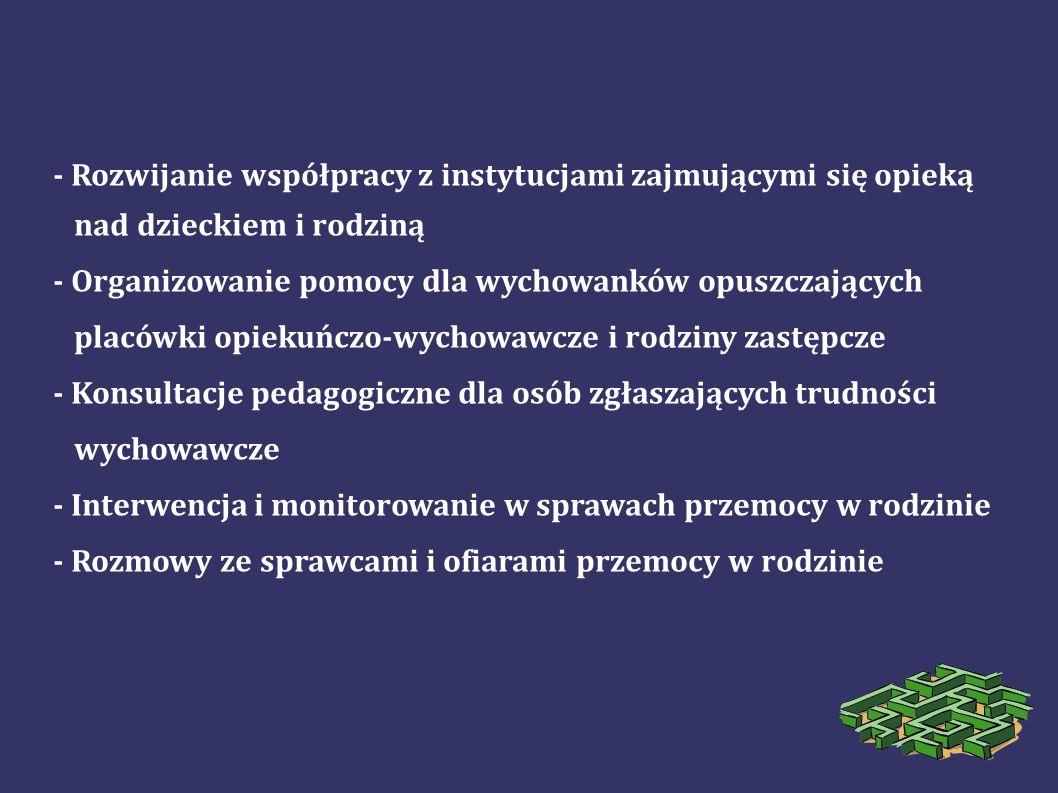 - Rozwijanie współpracy z instytucjami zajmującymi się opieką
