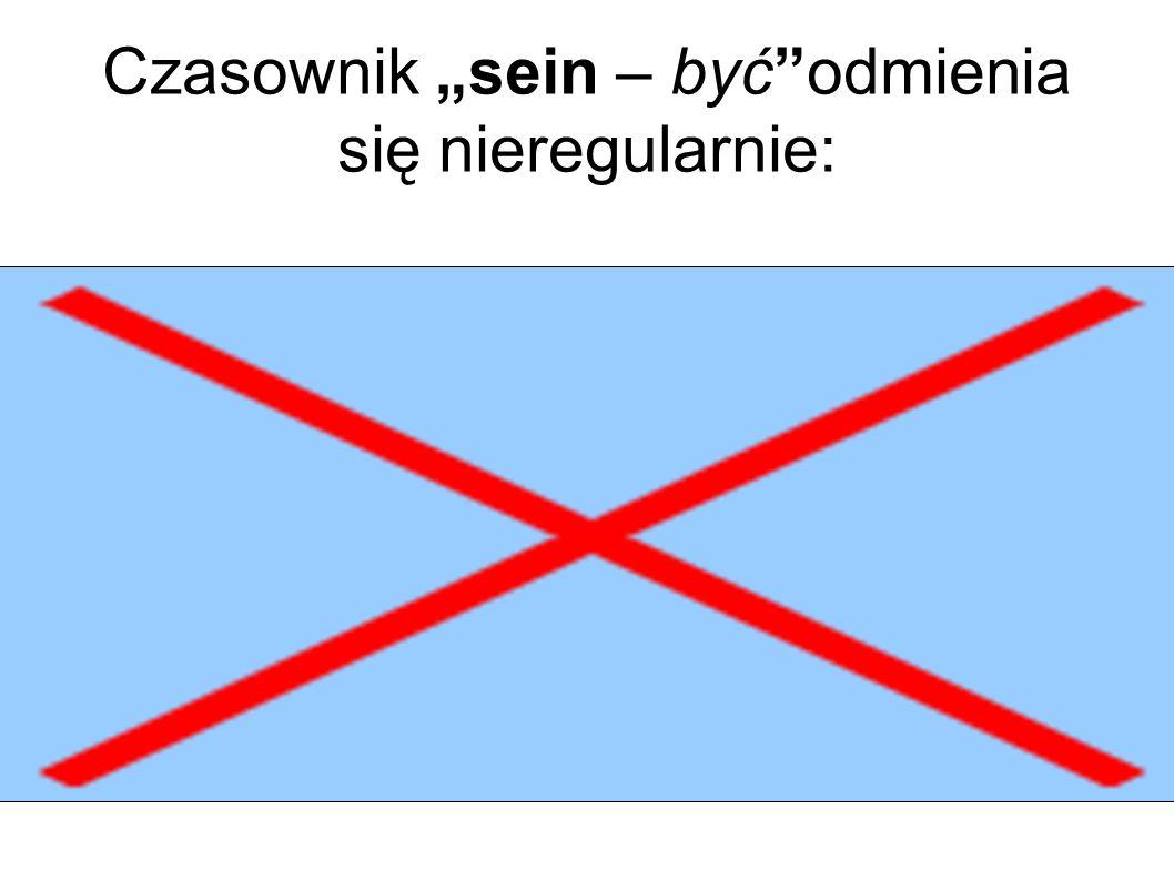 """Czasownik """"sein – być odmienia się nieregularnie:"""