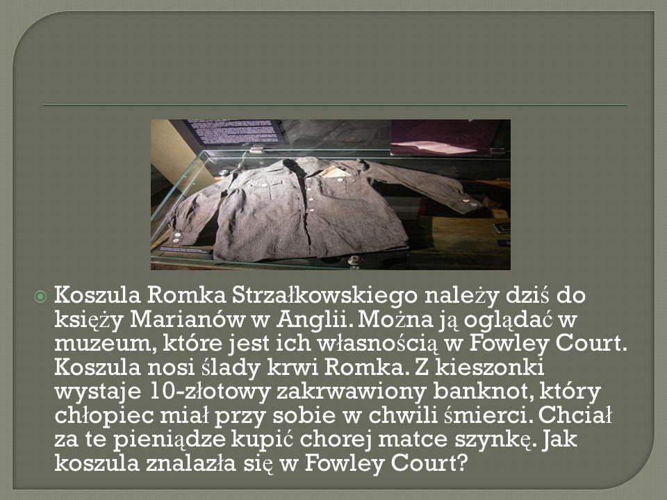 Koszula Romka Strzałkowskiego należy dziś do księży Marianów w Anglii