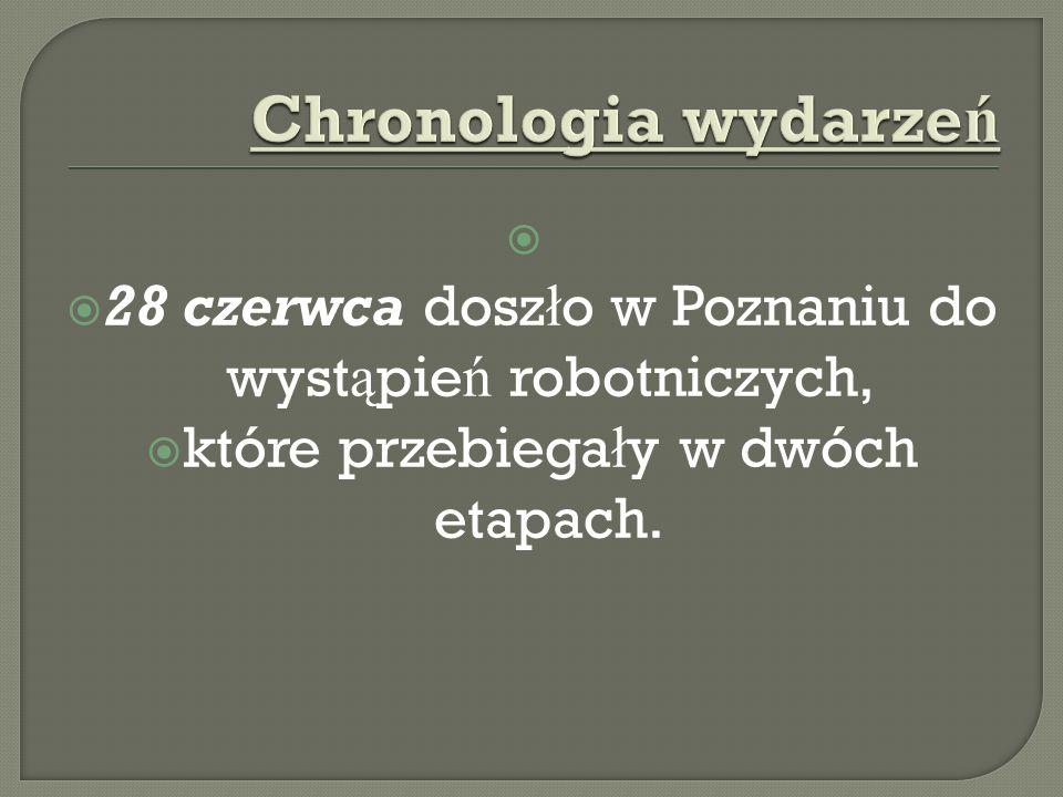 Chronologia wydarzeń 28 czerwca doszło w Poznaniu do wystąpień robotniczych, które przebiegały w dwóch etapach.