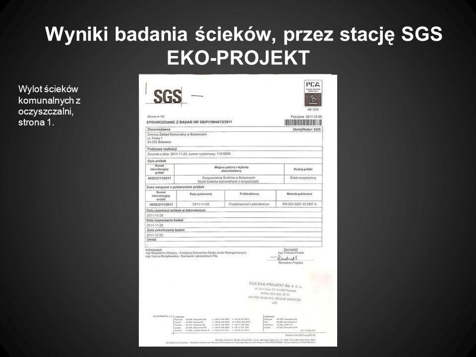 Wyniki badania ścieków, przez stację SGS EKO-PROJEKT
