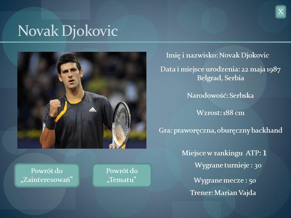 Novak Djokovic X Imię i nazwisko: Novak Djokovic