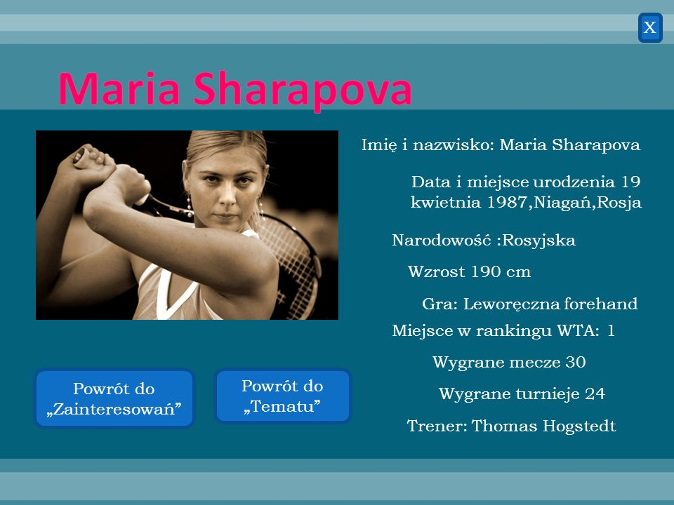 Maria Sharapova X Imię i nazwisko: Maria Sharapova