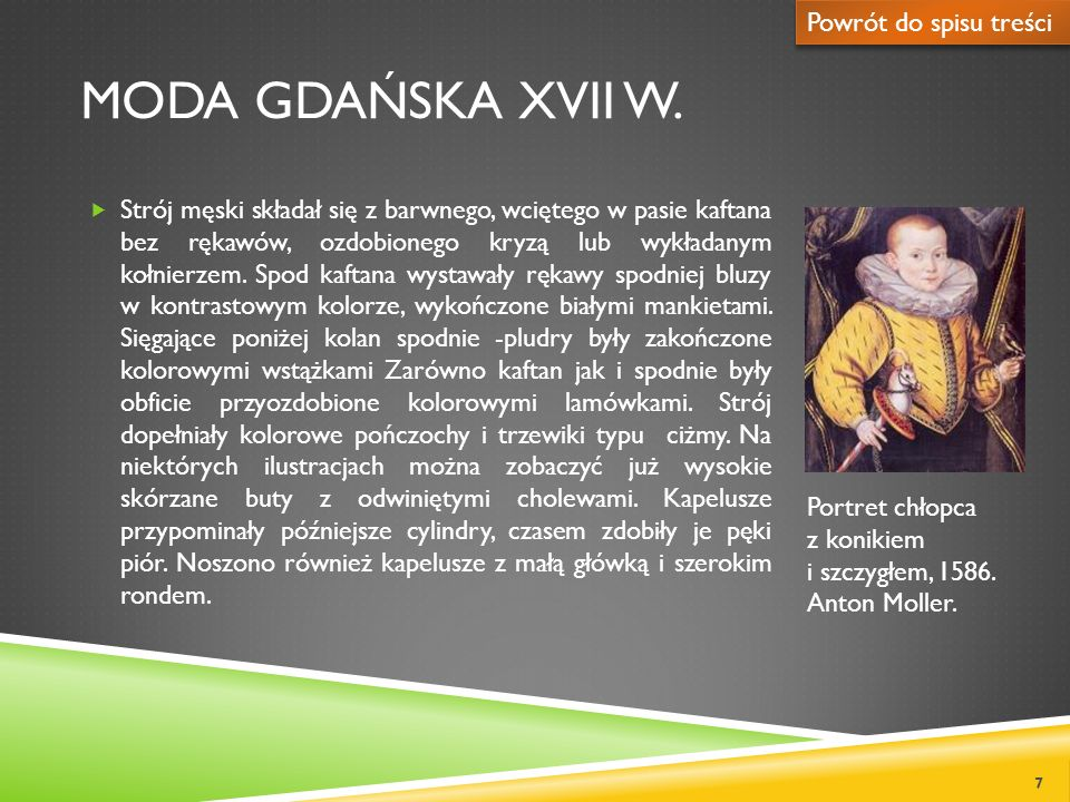 Moda gdańska XVIi w. Powrót do spisu treści