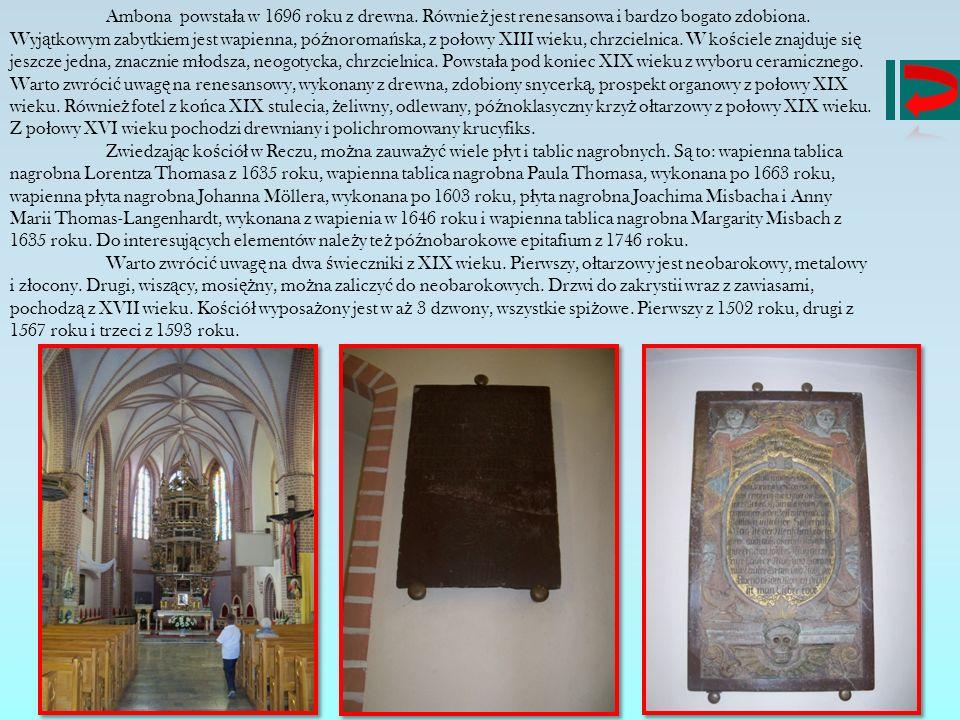 Ambona powstała w 1696 roku z drewna