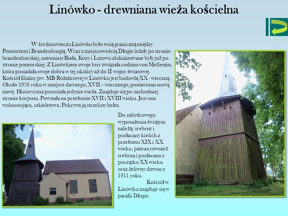 Linówko - drewniana wieża kościelna