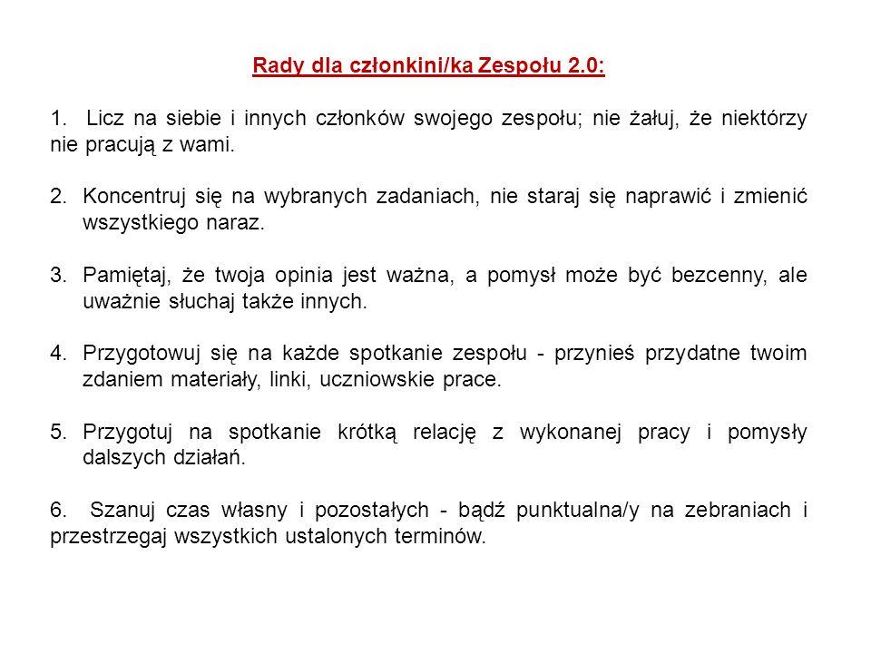 Rady dla członkini/ka Zespołu 2.0: