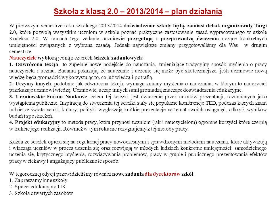 Szkoła z klasą 2.0 – 2013/2014 – plan działania
