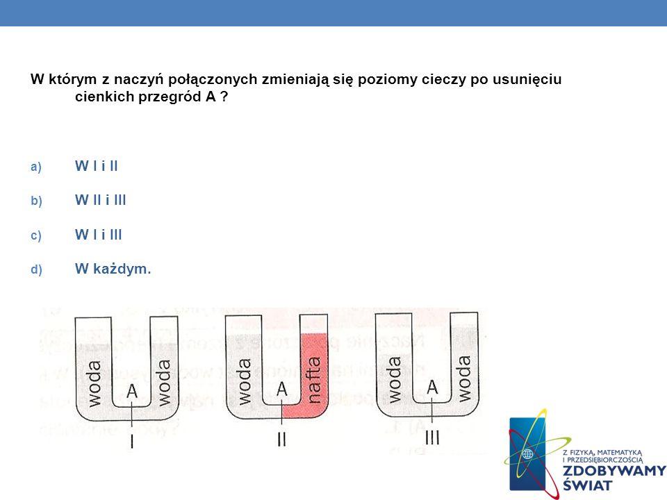 W którym z naczyń połączonych zmieniają się poziomy cieczy po usunięciu cienkich przegród A