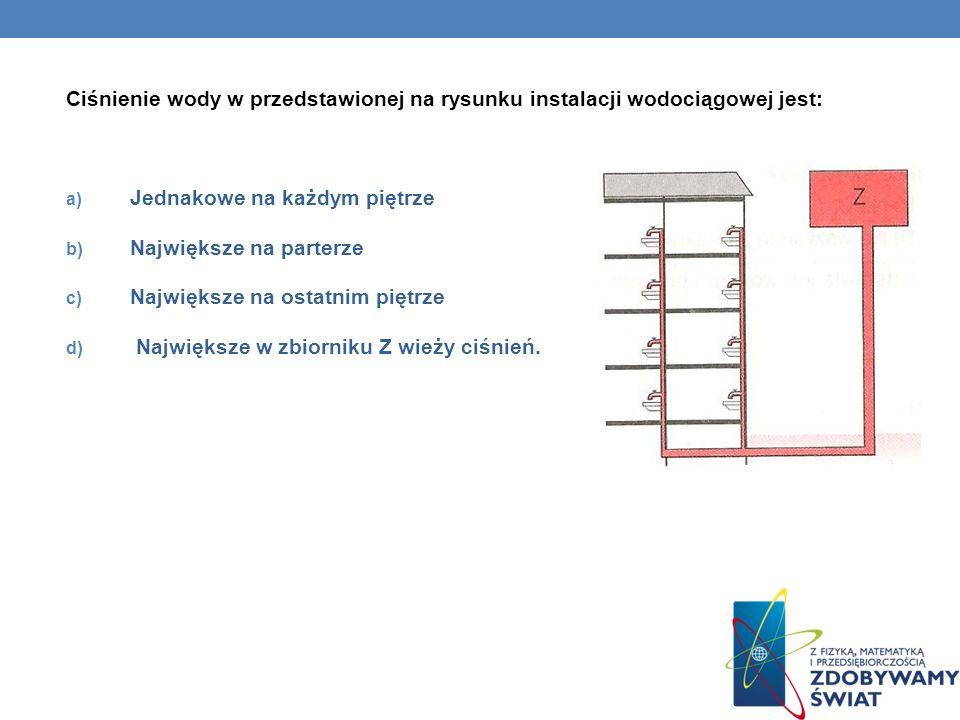 Ciśnienie wody w przedstawionej na rysunku instalacji wodociągowej jest: