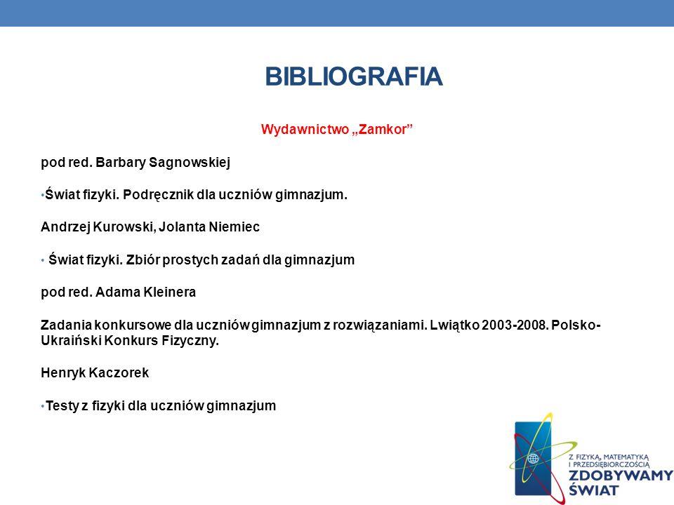 """Bibliografia Wydawnictwo """"Zamkor pod red. Barbary Sagnowskiej"""
