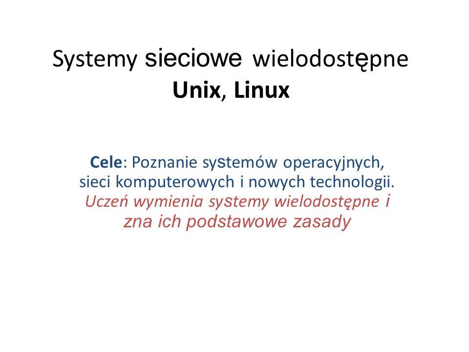 Systemy sieciowe wielodostępne Unix, Linux