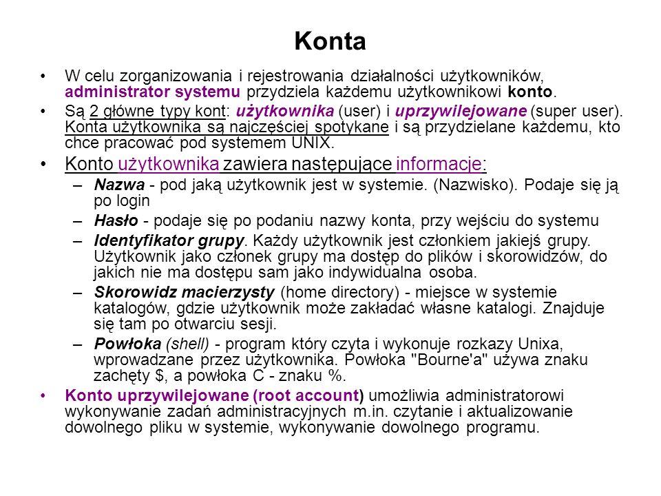 Konta Konto użytkownika zawiera następujące informacje: