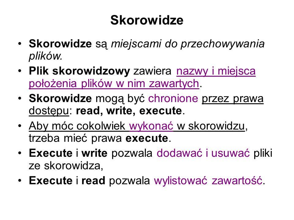 Skorowidze Skorowidze są miejscami do przechowywania plików.