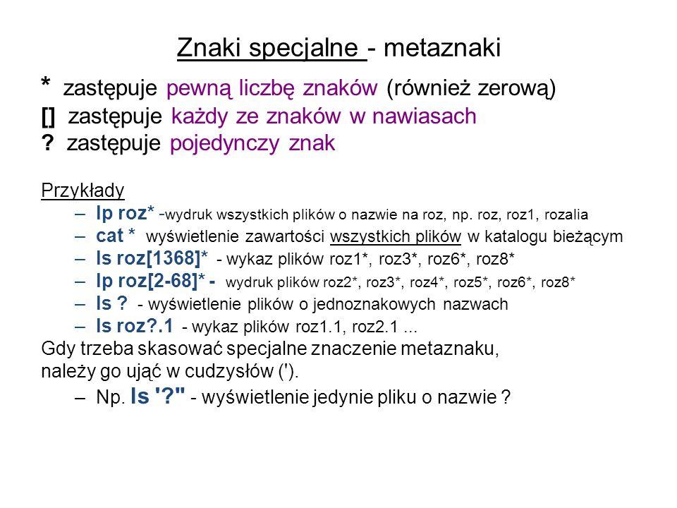 Znaki specjalne - metaznaki