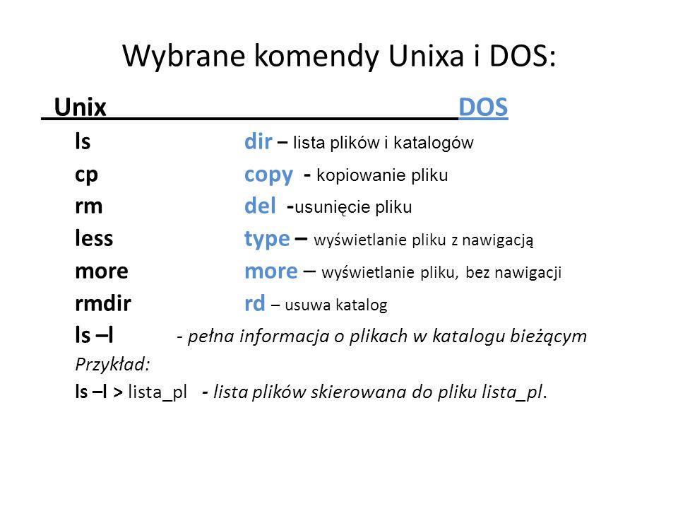 Wybrane komendy Unixa i DOS: